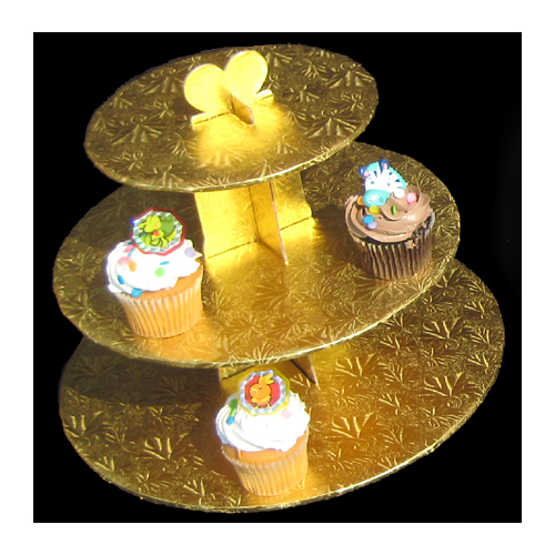 Gold Foil Covered 3-Tier Cupcake Stand