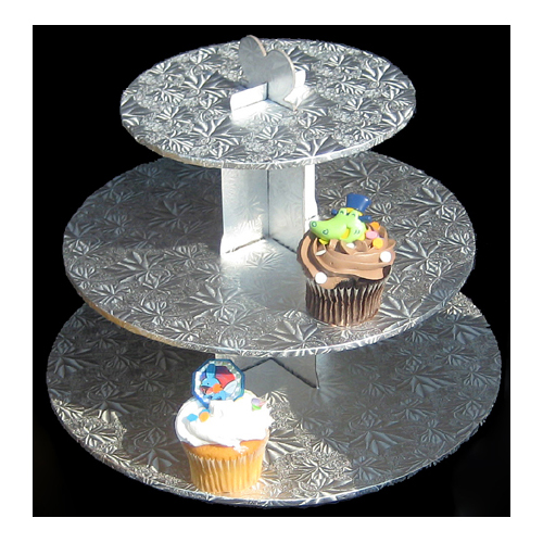 Silver Foil Covered 3-Tier Cupcake Stand