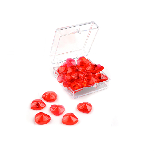 Edible Red Heart Gems - 11mm, 24 pieces