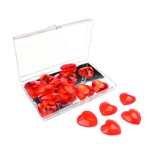 Edible Red Heart Gems - 20mm , 18 pieces