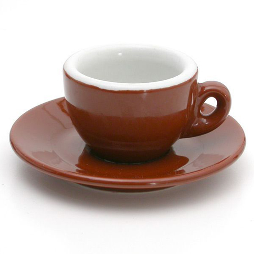 Nuova Poin Espresso Porcelain Set, Brown & White