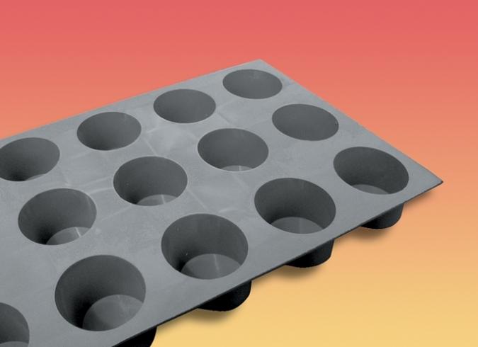 """de Buyer Elastomoule Muffin Silicone Non-Stick Bakeware Mold 1-3/4"""" Dia x 1-1/8"""" High, 15 Cavities"""