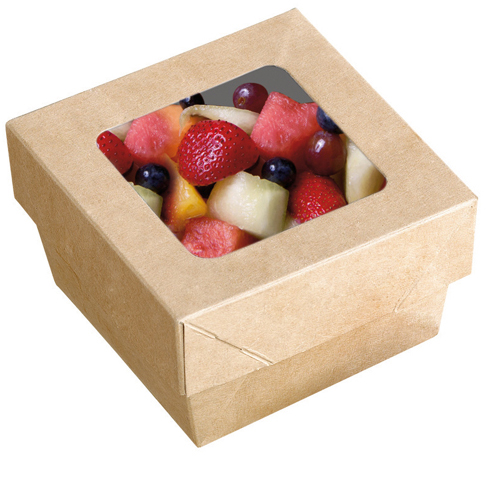"PacknWood Disposable Kray Takeout Box, Brown - 9.8"" x 9.8"" x 2"" High 210KRAYB255"