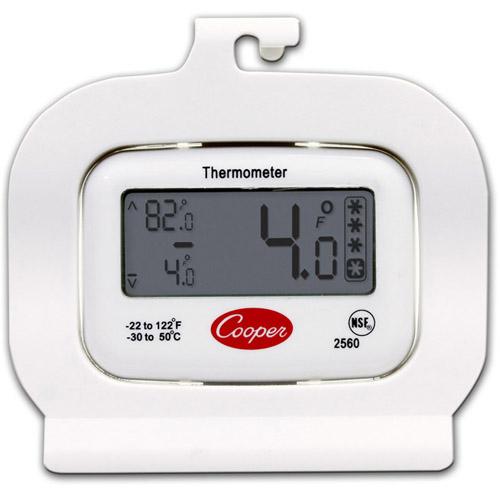 Cooper 2560 Digital Refrigerator / Freezer Thermometer, White