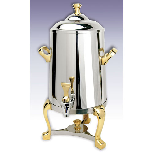 Eastern Tabletop Stainless Steel w/ Brass Accents Freedom Insulated Coffee Urn - 1.5 Gal