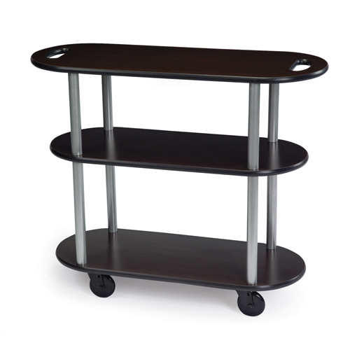 User friendly Geneva Service Cart Handle Holes Oval Ebony Wood Product Photo
