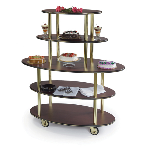 Ultimate Geneva Pastry Dessert Cart Rounded Oval Shelves Shelf Sand Product Photo