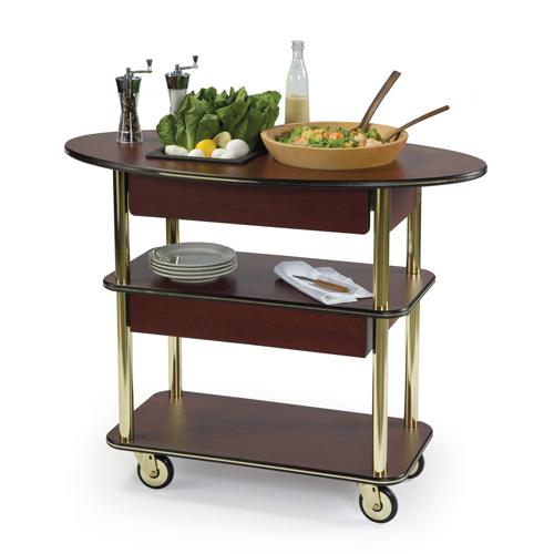 Geneva Salad Cart Oval Top Rectagular Undershelves Pewter Brush