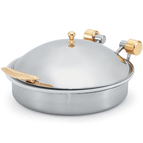 Vollrath Induction Chafer, Large Round, 6 Qt. (5.8 l), Brass Trim w/Porcelain Food Pan 46120