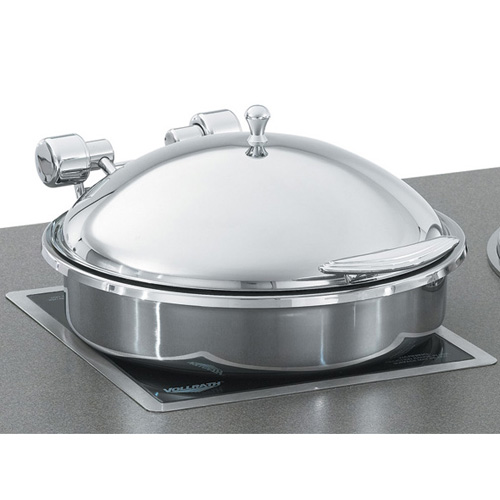 Vollrath Induction Chafer, Large Round, 6 Qt. (5.8 L), Stainless Steel Trim  W/ Stainless Food Pan 46123