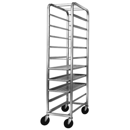 """Channel Platter / Meat-Tray Rack 70"""" High: for 12-1/2"""" Wide Trays - For 10 Trays. Rack is Aluminum"""