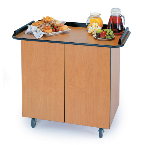 Geneva-Enclosed-Service-Cart-Hinged-Doors-Fixed-Shelf-Suede Product Image 945