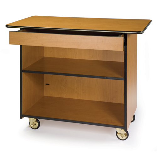 Geneva-Enclosed-Service-Cart-Center-Drawer-Fixed-Shelf-Amber Product Image 957