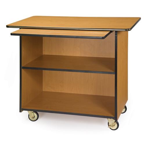 Geneva-Enclosed-Service-Cart-Pull-Out-Shelf-Fixed-Shelf-Sand Product Image 1017