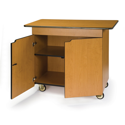 Unique Geneva Enclosed Service Cart Hinged Doors Center Drawer Fixed Shelf Amber Product Photo