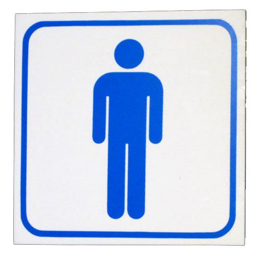 "Men Sign, 5-7/8"" x 5-7/8,"" Thick Plastic"