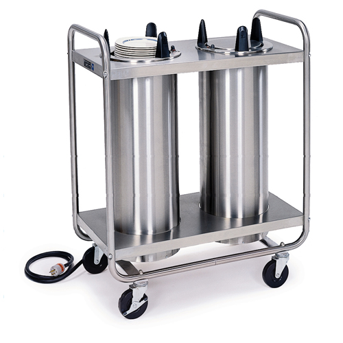 "Lakeside Mobile Heated Open Frame Dish Dispenser 2-Stack - Plate Size: 7-3/8"" to 8-1/8"" 8208"