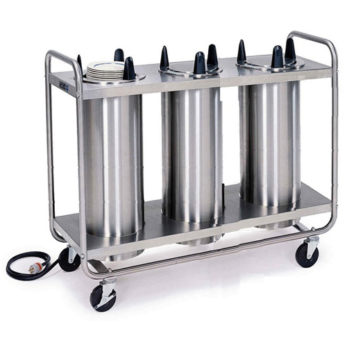 "Lakeside Mobile Heated Open Frame Dish Dispenser 3-Stack - Plate Size: 7-3/8"" to 8-1/8"" 8308"