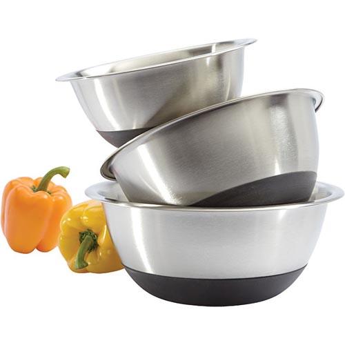 Amco Silicone-Bottom Bowls, 3-Pc Set: 2 qt., 4 qt. and 6 qt.