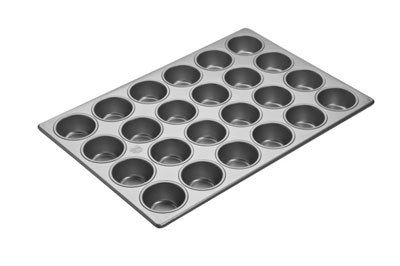 "Aluminized Steel Cupcake / Muffin Pan Glazed 24 Cups. Cup Size 2-3/4"" Dia. 1-3/8"" Deep. Overall Size 18"" x 26"