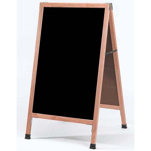 "Aarco A-1 A-Frame Sidewalk Chalkboard w/Wood Frame, 24""W x 42""H"