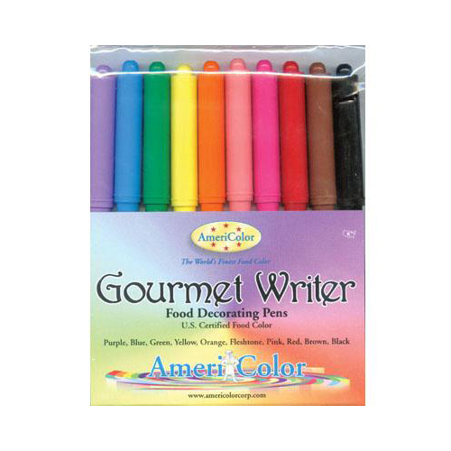 Americolor Gourmet Writer Food Decorating Pen, Assorted Colors - Pack of 10