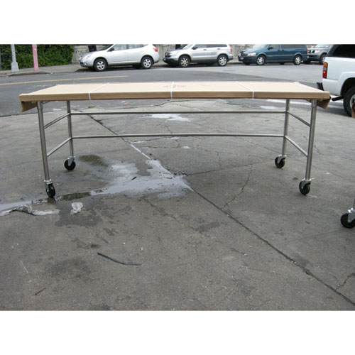 Reliable Butcher Block Table Open Base Double Brace On Casters New Product Photo