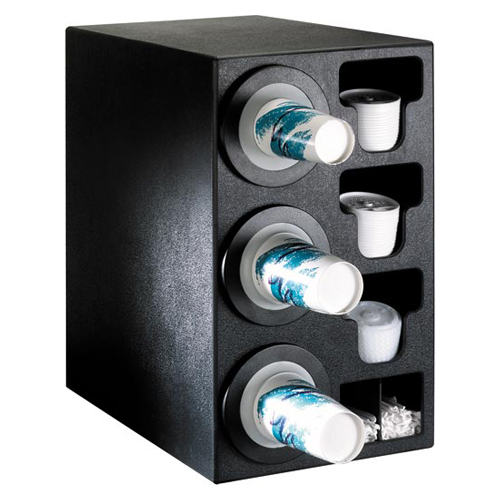 Dispense-Rite BFL-C-3BT Countertop 3-Cup Dispensing with Built-In Lid and Straw Organizer BFL-C-3BT