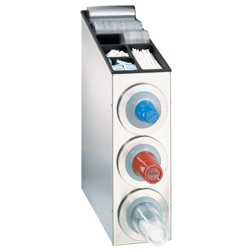 Dispense-Rite BFL-L-3SS Countertop 3-Cup S/S Dispensing Combination Cabinet BFL-L-3SS