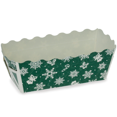 Welcome Home Brands Snowflake Green Disposable Paper Mini Loaf Baking Pan