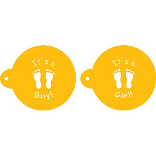 "Designer Stencils Decorating Cupcake Stencil, It's a Boy/Girl Cookie Top 3.5"" C064"