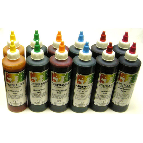Chefmaster Liqua-Gel Variety Pack, Twelve 10.5-Ounce Bottles