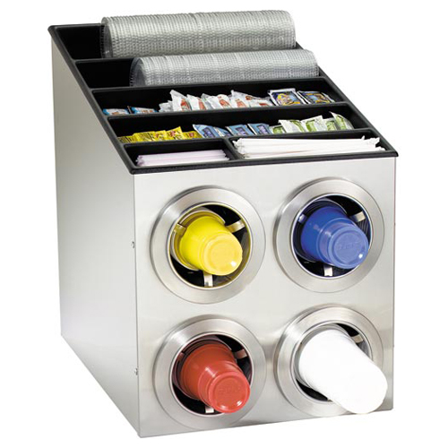 Dispense-Rite CTC-L-2X2SS Countertop 4-Cup S/S Dispensing Combination Cabinet CTC-L-2X2SS
