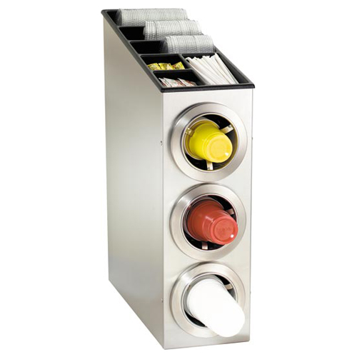 Dispense-Rite CTC-L-3SS Countertop 3-Cup S/S Dispensing Combination Cabinet CTC-L-3SS