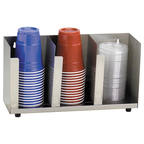 Dispense-Rite CTLD-15 Stainless Steel Cup and Lid Organizer - 3 Section CTLD-15