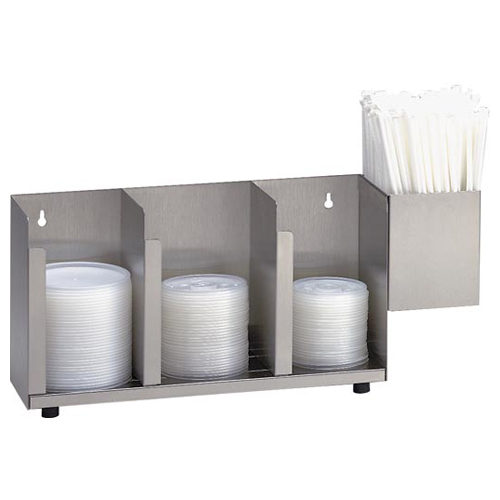 Dispense-Rite CTLD-15A S/S Cup and Lid Organizer with SH-1 - 3 Section CTLD-15A