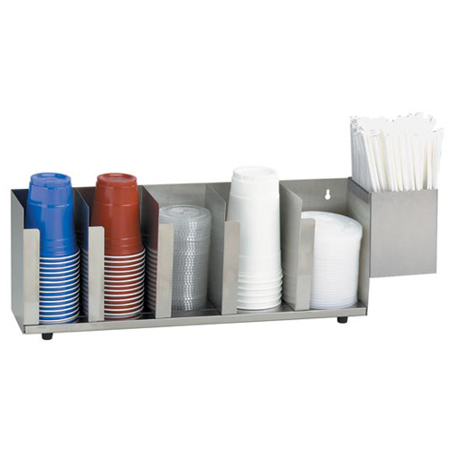 Dispense-Rite CTLD-22A S/S Cup and Lid Organizer with SH-1 - 5 Section CTLD-22A