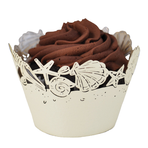 Paper Orchid Seashells Cupcake Wrapper, Ivory - 50 Pieces CWR--3054