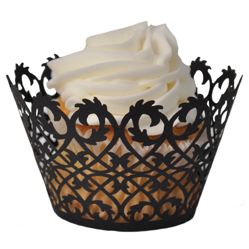Paper Orchid Filigree Cupcake Wrapper, Black - 50 pieces CW-3071