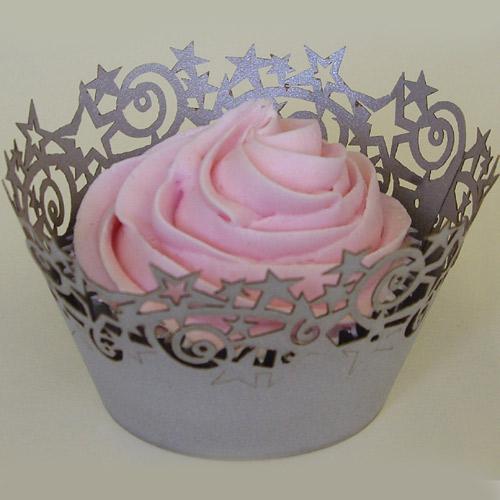 PME Cupcake Wrapper Stars, Silver CW922