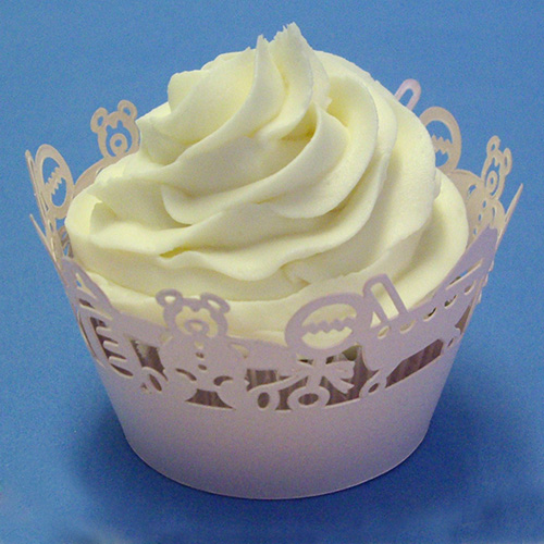 PME CW929 Pink Baby Decorative Lace Cupcake Wrappers, Pack of 12 CW929