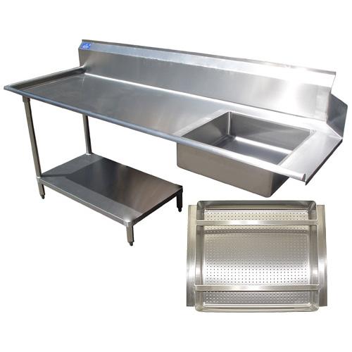 Reliable All Stainless Steel Soil Dishtable Undershelf Prerinse Basket Left Product Photo