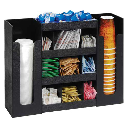 Dispense-Rite DLCO-5BT BLK Cup Lid Condiment Organizer, 6-Section, Polystyrene, Black DLCO-5BT BLK