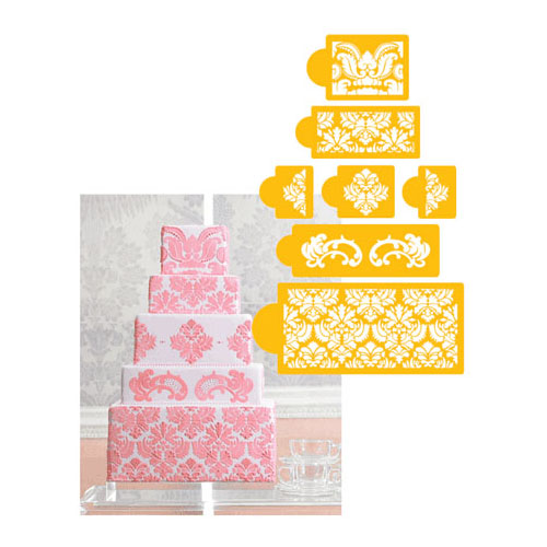 Cake Decorating Stencils Uk : Designer Decorating Stencil Damask Cake 5-tier Set. NEW eBay
