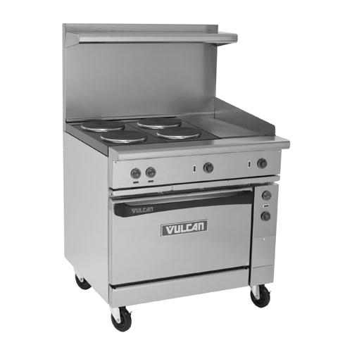 Vulcan Ev36s 4fp12g208 Electric Restaurant Range 36 4 French Plates 12 Griddle 208v