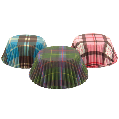 Fox Run Plaid Disposable Baking Cups, Total 75 Pieces
