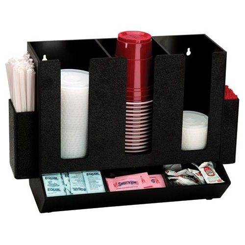Dispense-Rite HLCO-3BT Cup, Lid, Straw and Condiment Countertop Organizer HLCO-3BT