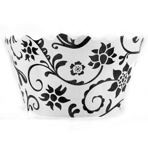 Bella Cupcake Couture Hannah Black and White Wrapper, 50 Pieces HannahBlack_White-BULK50