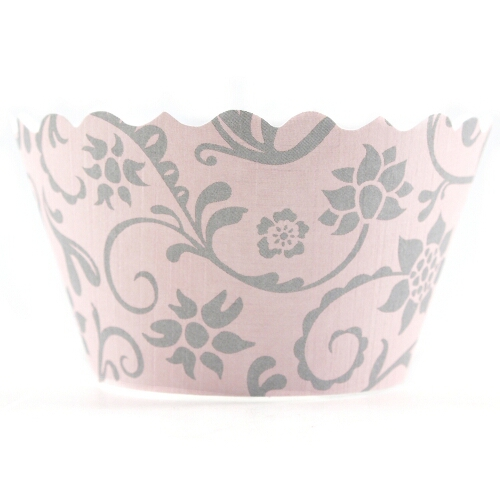 Bella Cupcake Couture Hannah Pink and Gray Wrapper - 12 Pieces