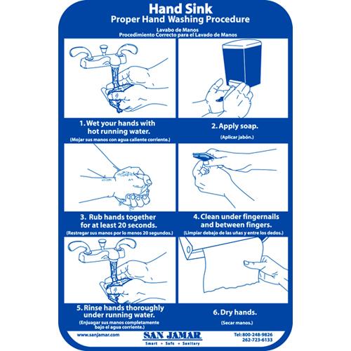 "San Jamar Plastic Hand Washing Wall Chart 6"" X 9"""